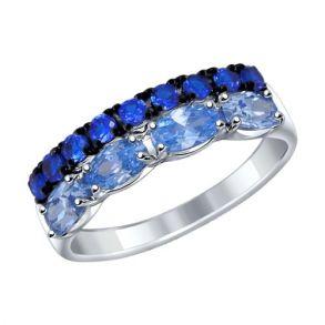 Кольцо из серебра с синими и голубыми фианитами 94012086 SOKOLOV
