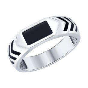 Кольцо из серебра с эмалью и ониксом 94012168 SOKOLOV