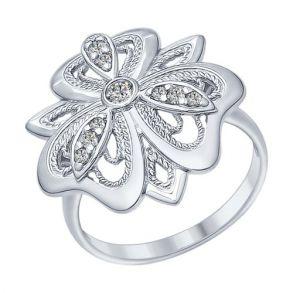 Кольцо из серебра с фианитами 94012288 SOKOLOV