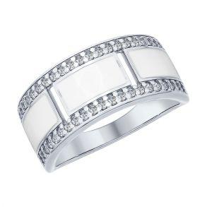 Кольцо из серебра с эмалью и фианитами 94012441 SOKOLOV