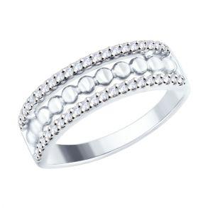 Кольцо из серебра с фианитами 94012445 SOKOLOV