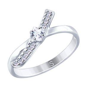 Кольцо из серебра с фианитами 94012523 SOKOLOV