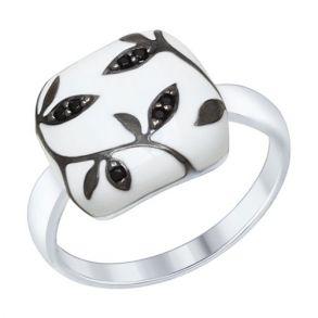 Кольцо из серебра с эмалью с чёрными фианитами 94012559 SOKOLOV