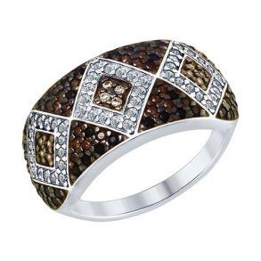 Кольцо из серебра с бесцветными, жёлтыми, коричневыми и чёрными фианитами 94012585 SOKOLOV