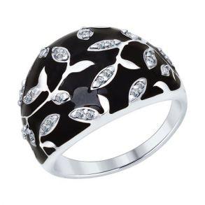 Кольцо из серебра с эмалью с фианитами 94012592 SOKOLOV