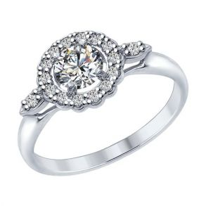 Кольцо из серебра с фианитами 94012595 SOKOLOV