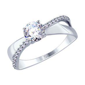 Кольцо из серебра с фианитами 94012676 SOKOLOV