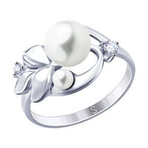 Кольцо из серебра с жемчугом и фианитами 94012959 SOKOLOV