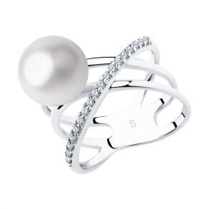 Кольцо из серебра с жемчугом и фианитами 94012970 SOKOLOV