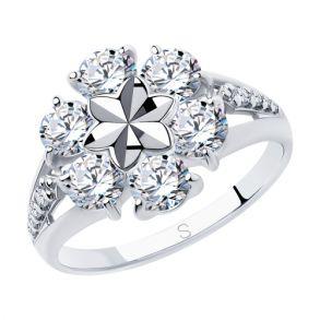 Кольцо из серебра с алмазной гранью с фианитами 94012977 SOKOLOV