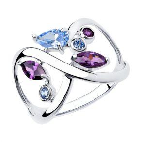 Кольцо из серебра с фианитами 94013034 SOKOLOV