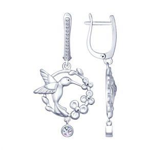 Серебряные серьги «Колибри» с фианитами 94022806 SOKOLOV