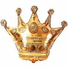 Шар (34''/86 см) Фигура, Корона, Золото, 1 шт.