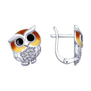 Серьги из серебра «Совята» с эмалью и фианитами 94022921 SOKOLOV