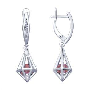 Серьги из серебра с сиреневыми кристаллами Swarovski и фианитами 94022954 SOKOLOV