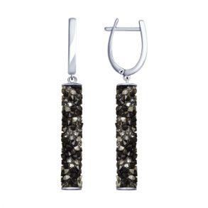 Серьги из серебра с чёрными кристаллами Swarovski 94023186 SOKOLOV