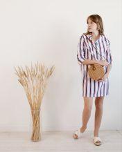 Платье рубашка из хлопка в полоску