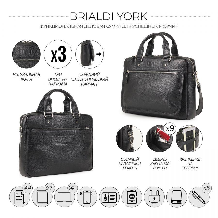 Деловая сумка BRIALDI York (Йорк) relief black