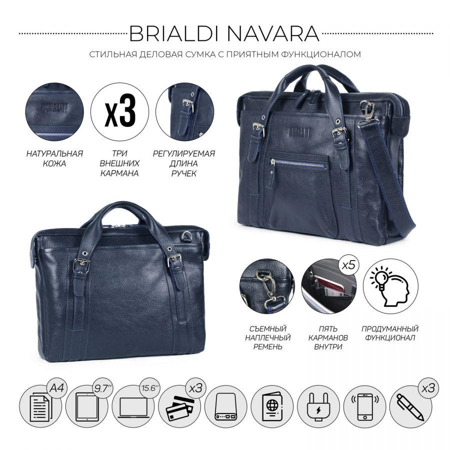 Деловая сумка BRIALDI Navara (Навара) relief navy