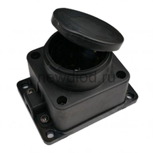 Розетка одинарная с заземлением каучук с заглушкой 16А IP44 черная 9321 IN HOME