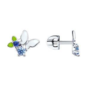 Серьги из серебра с эмалью и фианитами 94023371 SOKOLOV
