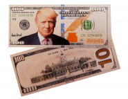 100 долларов ДОНАЛЬД ТРАМП.СУВЕНИРНАЯ ПЛАСТИК СЕРЕБРО