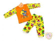 Костюм детский желтый: водолазка, штаны (3-нитка, мишка) код 01079-2 оптом Мамин Малыш