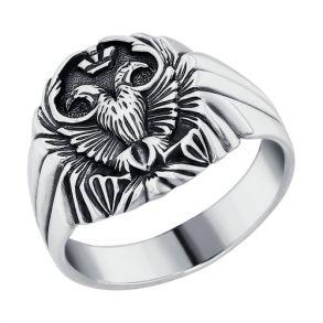 Печатка из чернёного серебра 95010038 SOKOLOV