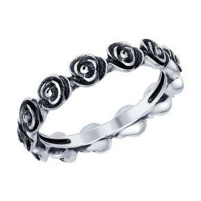 Кольцо из чернёного серебра 95010080 SOKOLOV