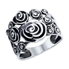Кольцо из чернёного серебра 95010083 SOKOLOV