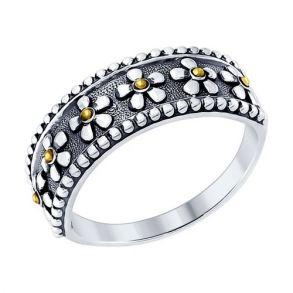 Кольцо из чернёного серебра 95010090 SOKOLOV