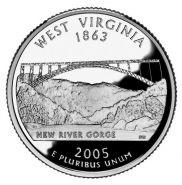 25 центов США 2005г - Западная Виргиния, UNC - Серия Штаты и территории