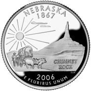 25 центов США 2006г - Небраска, UNC - Серия Штаты и территории D