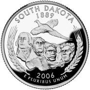 25 центов США 2006г - Южная Дакота, UNC - Серия Штаты и территории D