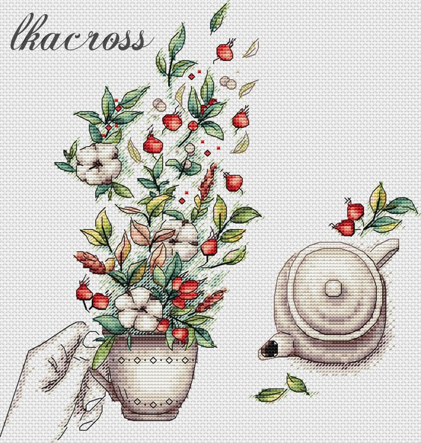 """Cotton and rose hips"". Digital cross stitch pattern."