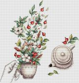 "Digital cross stitch pattern ""Cotton and rose hips""."