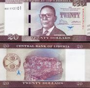 Либерия 20 долларов 2017 UNC