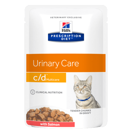Консервы Hill's prescription Dietc/d Multicare Feline with Salmon паучи C/D для кошек при профилактике МКБ с лососем (кусочки в соусе) 85 гр