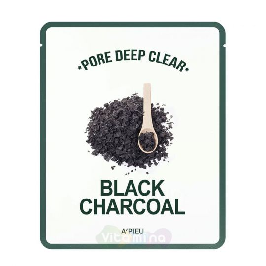 A'Pieu Глубокоочищающая маска для лица Pore Deep Clear Black Charcoal Mask, 25 г