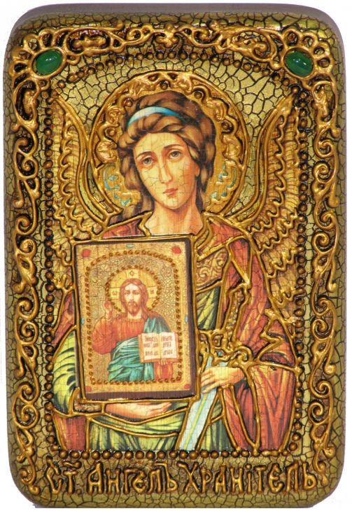 Инкрустированная настольная икона Ангел Хранитель (10*15 см, Россия) на натуральном мореном дубе, в подарочной коробке