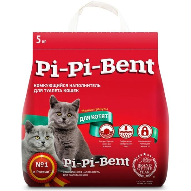 Наполнитель для котят Pi-Pi-Bent комкующийся 5кг