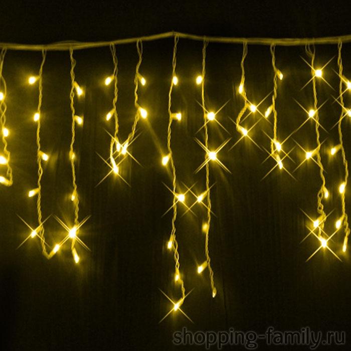 Уличная гирлянда Бахрома, мелкая 100 LED, Цвет Желтый