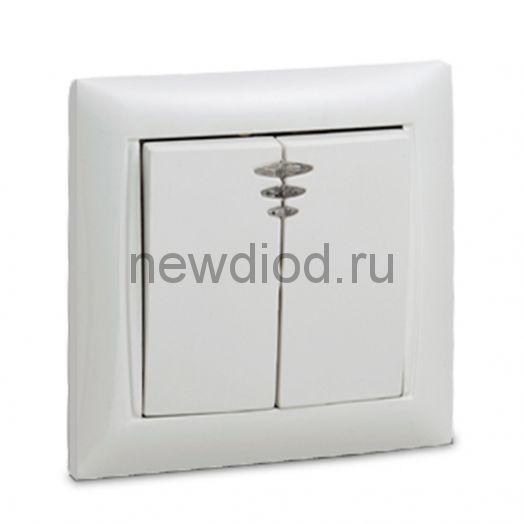 Выключатель 2кл с подсветкой VALENZO белый 6123 IN HOME