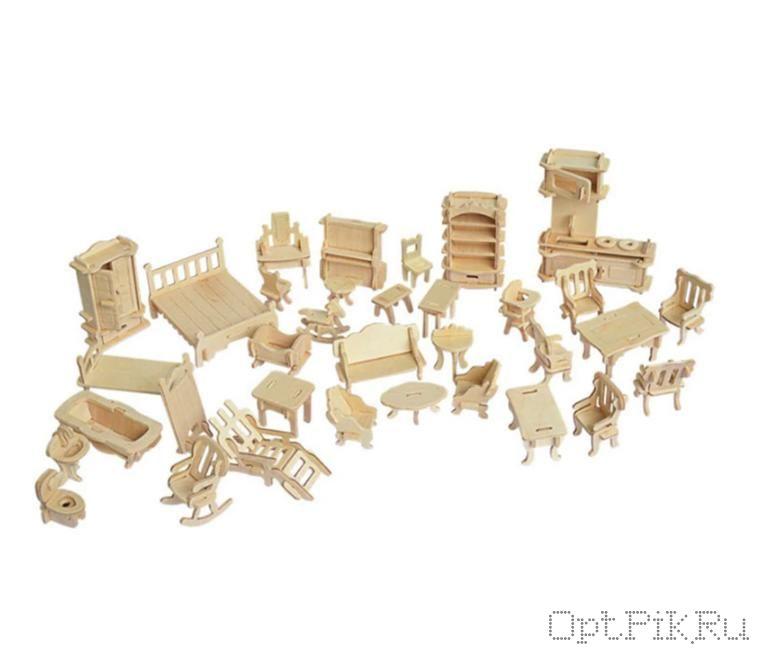 Набор деревянной мебели для кукол