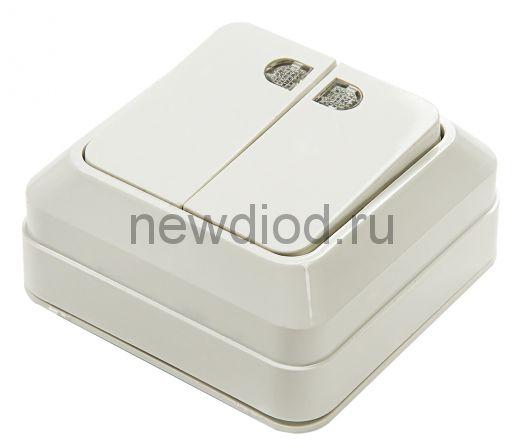 Выключатель 2кл с подсветкой BOLLETO белый накл 7123 IN HOME