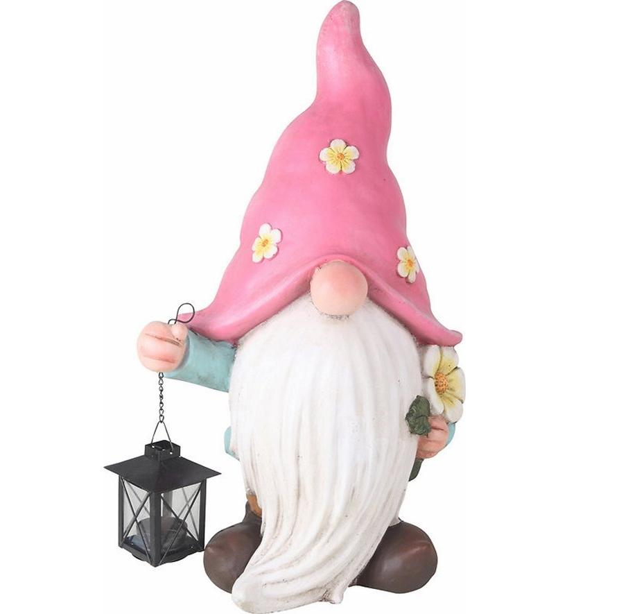Фигура декоративная Гномик с фонарем розовый