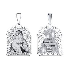 Иконка из серебра с лазерной обработкой 94100133 SOKOLOV
