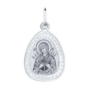 Серебряная нательная иконка с ликом Божьей Матери Семистрельной 94100151 SOKOLOV