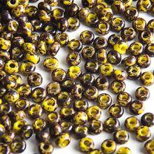 Бисер чешский 89110 горчично-коричневый мраморный непрозрачный Preciosa 1 сорт (9/0)
