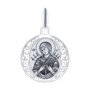 Серебряная иконка «Икона Божьей Матери Семистрельная» 94100245 SOKOLOV